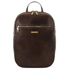 Leather Laptop Backpack Dark Brown - Tuscany Leather -
