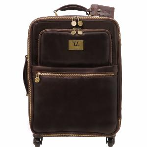 4 Wheels Vertical Leather Trolley uk Dark Brown -Tuscany Leather -