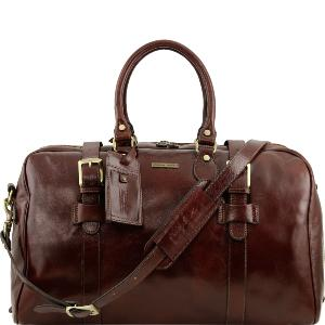 Leather Travel Bag with Front Straps - Tuscany Leather -
