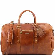 Soft Leather Travel Bag for Plane Cabin Honey - Tuscany Leather –
