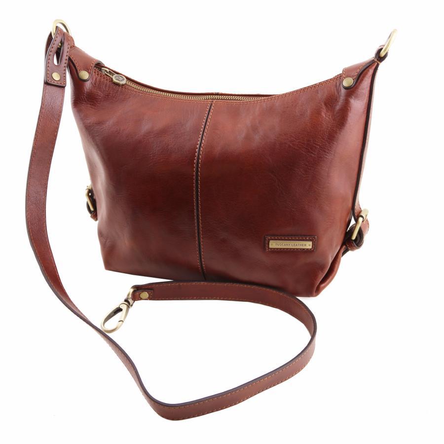 63c2f809f64b Soft Leather Shoulder Bag for Women Black - Tuscany Leather -