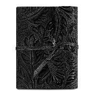 Leather Travel Diary with Floral Pattern Black - Tuscany Leather -
