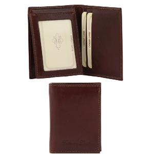 Leather Wallet for Men with 3 Compartments Brown -Tuscany Leather-