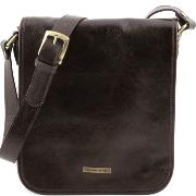 Leather Shoulder Bag for Men Messenger 2 Compartments Dark Brown- Tuscany Leather -