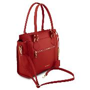 Leather Handbag Front Zip for Women - Tuscany Leather -