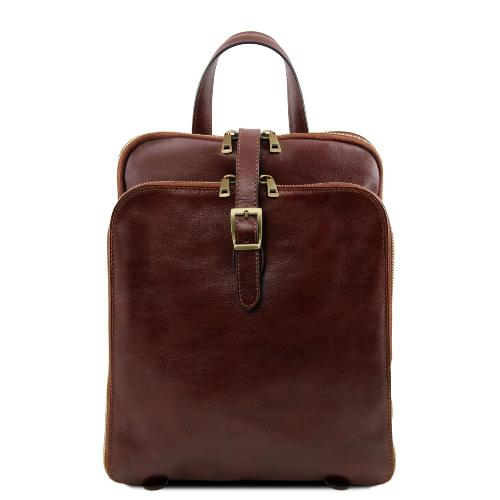 Leather Backpack 3 Compartments Brown - Tuscany Leather -