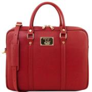 Leather Laptop Case for Women Red -  Tuscany Leather -