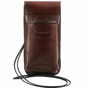 Leather Glasses or Smartphone Holder Brown - Tuscany Leather -
