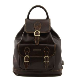 Leather Backpack Vintage Women Dark Brown- Tuscany Leather -