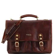 Leather Briefcase Pockets and Shoulder Strap Brown - Tuscany Leather -