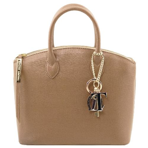 Small Leather Fashion Bag for Women Taupe -Tuscany Leather-