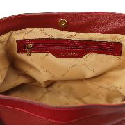Grand Sac Cuir Souple Fourre-Tout Femme Rouge - Tuscany Leather -