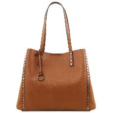 Soft Leather Shopping Bag for Women Honey - Tuscany Leather -