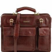 Leather Briefcase with Pockets Men or Women Brown - Tuscany Leather –