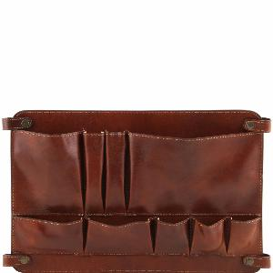 Leather Separating Module with Pockets Brown -Tuscany Leather-