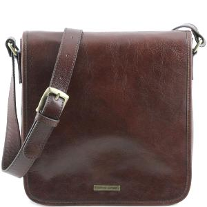 Leather Shoulder Bag for Men 1 Compartment Brown - Tuscany Leather -