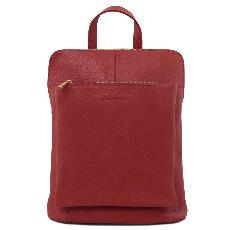 Soft Leather Backpack Red for Women - Tuscany Leather -