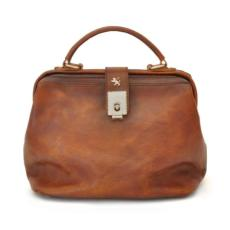 Leather Doctor Style Handbag Brown - Pratesi -