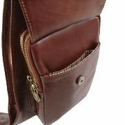Leather Crossover Bag for Men Brown- Tuscany Leather –