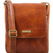 Leather Cross body Bag for Men with Pockets Honey -Tuscany Leather-