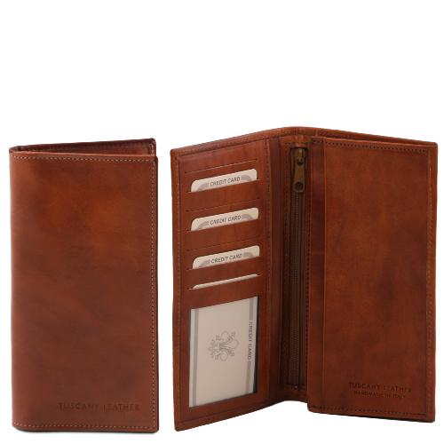 Leather Wallet for Men woth Compartments Brown -Tuscany Leather-