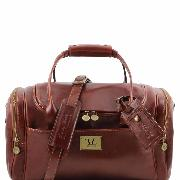 Travel Leather Bag with side Pockets -Tuscany Leather-