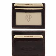 Elegant Leather Credit Card Holder Dark Brown -Tuscany Leather-