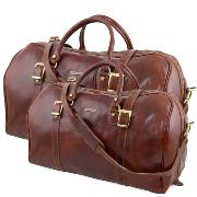 Leather Travel Set Brown Berlino - Tuscany Leather -