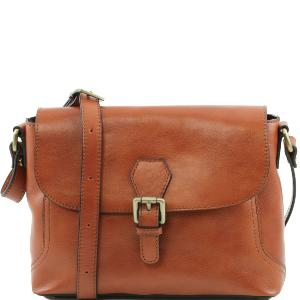 Leather Shoulder Bag with Flap Honey - Tuscany-Leather -