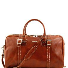 Travel Leather Duffle Bag Small Size Honey  -Tuscany Leather-