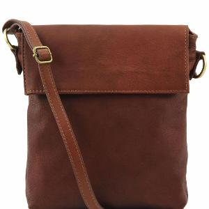 Leather Shoulder Bag for Men Morgan Brown - Tuscany Leather –