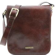 Leather Shoulder Bag for Men Messenger 2 Compartments Brown - Tuscany Leather -