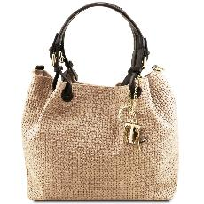 Woven Printed Leather Shopping Bag for Women Beige - Tuscany Leather – -
