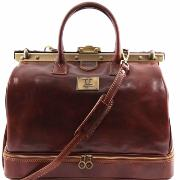 Double Bottom Gladstone Leather Bag  -Tuscany Leather-