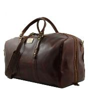 Exclusive Leather Weekender Travel Bag Francoforte -Leather Marron