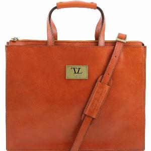 Leather Briefcase 3 Compartments Honey - Tuscany Leather -