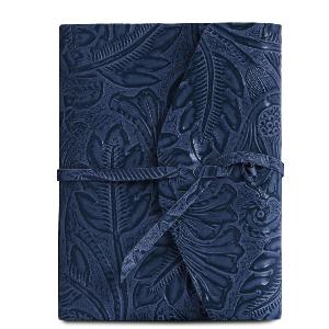 Leather Travel Diary with Floral Pattern Blue - Tuscany Leather -