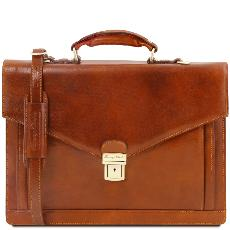 Leather briefcase 2 compartments -Tuscany Leather-