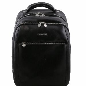 Leather Laptop Backpack Black - Tuscany Leather -