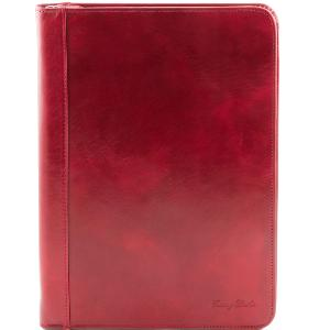 Leather Document Case Red -Tuscany Leather-