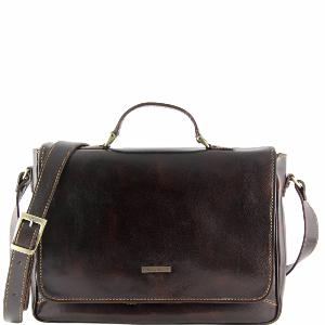 Leather Briefcase for Laptop Dark Brown -Tuscany Leather-