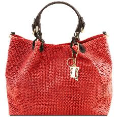 Printed red Leather Bag Women - Tuscany Leather -