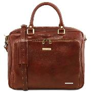 Leather Briefcase for Laptop Brown  -Tuscany Leather -