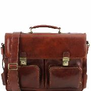 Leather Briefcase with Pockets Brown - Tuscany Leather -