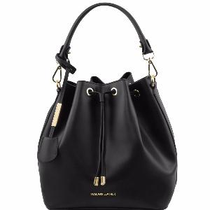 Leather Secchiello Bag for Women Black - Tuscany Leather –