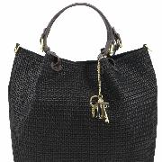 Printed Black Leather Bag Women - Tuscany Leather -